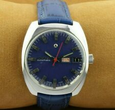 VINTAGE ENICAR BLUE AUTOMATIC SWISS MEN'S WORKING WRIST WATCH RARE ..