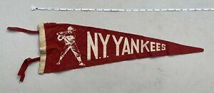 Very Rare Original Vintage N.Y. Yankees Medium Felt Pennant  Red BallPlayer