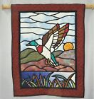 Vtg Quilted Wall Hanging Tapestry Flying Mallard Duck Stained Glass Style 29x37