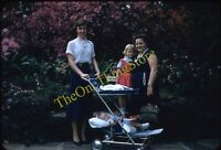Pretty Woman Baby Stroller Carriage 1950s 35mm Slide Red Border Kodachrome