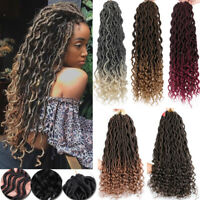 "20"" Goddess Faux Locs Curly Crochet Braids Thick Sew in Braiding Hair as human"