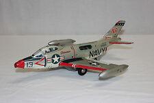 Rare Yonezawa Y Japan Tin Litho Friction Navy Demon Jet Fighter Airplane L@@K