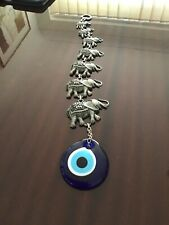 7 Elephants Hanging Ornament With Nazar ( Lucky  Turkish Eye)