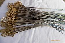 Shish Kebab BBQ Skewers Stainless steel and brass handel 45cm long Turkish Chris