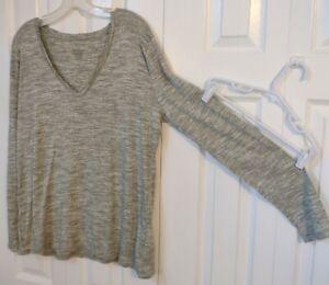 Women's Casual Shirt-Gray Marbled-V Neck-Long Sleeve-Size XXL-Merona