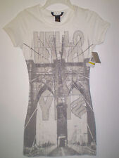 """ROCAWEAR Women's Shirt Short Sleeve """"HELLO BROOKLYN"""" (M) MED White NEW w TAGS"""