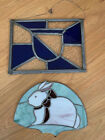 LOT of 2 Stained Glass Pieces   Blue   Clear Glass Window   Pastel Rabbit Bunny