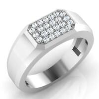 0.27 Ct Round Natural Diamond Wedding Mens Ring 14K White Gold Band Size V W