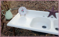 NEAR PERFECT! Antique Farm Vintage Farmhouse Kitchen Sink Dual Basin SIX FOOT!