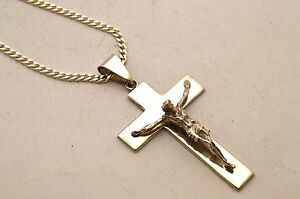 Taxco, Mexican 925 Sterling Silver Crucifix Cross Pendant Top with Silver Chain