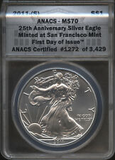 2011-(S) American Silver Eagle 1 oz. ANACS MS70 First Day Issue 25th Anniversary