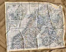 Original WW2 British SOE MI9 RAF FGS Series Silk Escape Map - Scandinavia F/G