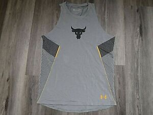 Men's Gray Under Armour Heatgear Tank Top Fitted Size L Project Rock Very Gd Cd