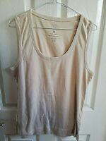 TU WOMENS BEIGE SLEEVELESS TOP SIZE 20 COTTON LENGTH 27 PIT TO PIT 19 STRETCH