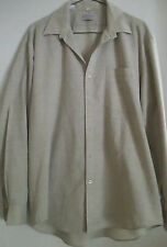 Bugatchi Uomo Mens Beige Lg Sleeve Button down Dress Shirt Size L 16 1/2