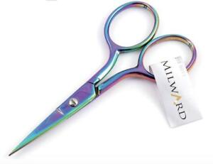"Milward Multi-Colour Rainbow Embroidery Scissors - 3.5""/9cm - Sharp Point"