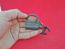 Old Vintage Beautiful Round Shape Handmade Screw Type Iron Padlock With Key S3
