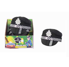 BOYS MENS POLICE HAT CAP - FANCY DRESS PARTY POLICE OFFICER ACCESSORY WITH BADGE