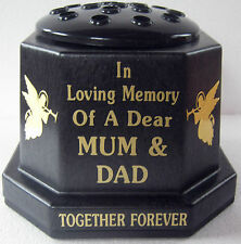 Memorial Vase Pot Grave Cemetery Mum Dad Angels Gold
