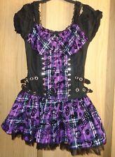 Living Dead Souls Purple Tartan Dress Size Small