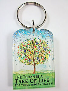 Judaic Key Ring Acrylic TREE OF LIFE with Travelers Prayer