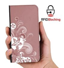 RFID Protected Floral Pink PU Leather Phone Wallet Case Cover Samsung Galaxy