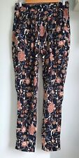 LOLLYS LAUNDRY Gonna Blue Pink Floral Trousers S UK 8 10 Elastic Waist Pockets