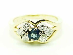 Schmuck 585 Gelbgold Ring Diamant/Saphir massiver Ring zus ca  0,70 Karat  Top