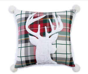LEVTEX HOME Plaid Deer Holiday Revers Decor Pillow Faux Fur Back Removable Cover