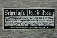 Werbung Anzeige 1900 Schering´s Pepsin Essenz Grüne Apotheke Berlin Holzschnitt