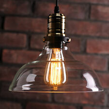 VINTAGE RETRO INDUSTRIAL CEILING PENDANT LIGHT LAMP GLASS SHADE FREE EDISON BULB