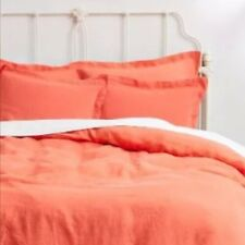 NEW Anthropologie SOFT WASHED LINEN Two Standard Shams CORAL