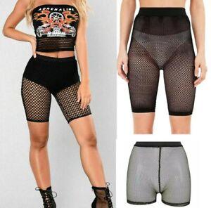 Womens Fish Net Shorts Ladies Mesh Cycling Shorts Stocking Black And  Hot Pants