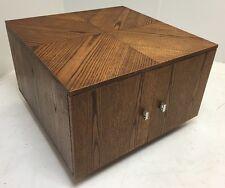 Vintage Mid Century Modern Retro Brutalist Walnut Cabinet End Table Knoll Era