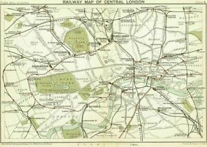 Vintage 1899 Railway Map of Central London Travel Poster Reprint Picture A4