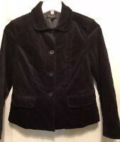 Talbots Size 6 Dark Black Velvet Quilted Pocket Button Blazer Jacket Women's