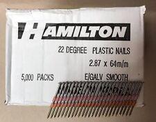 20 21 22 Degré 2.8 x 64 mm GALV Lisse Plastique rassemblaient Framing ongles 5000 Qté