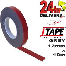 JTape 12mm GREY Double Sided Reinforced Acrylic Foam Adhesive Tape Numberplates