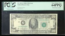 1988A $20 FEDERAL RESERVE NOTE ERROR MAJOR SOLVENT SMEAR PCGS 64PPQ