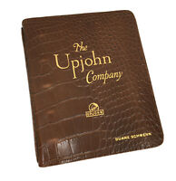 Vintage UPJOHN 5-Ring Binder Brown Genuine Cowhide Leather Alligator Embossed