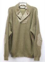 mens brown ORVIS sweater elbow patches WWII mechanic shawl cotton pullover L