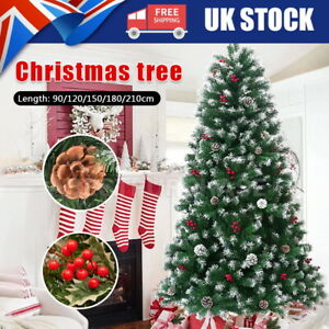 3/5/6/7ft  Artificial Christmas Tree Pines & Cones Realistic Xmas Decoration UK
