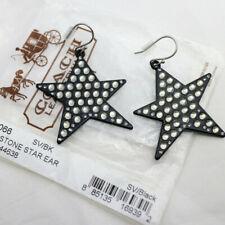 NWT COACH Pave Crystal Rhinestone Black Star Drop Dangle Earrings NEW