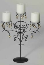 Halloween Candelabra Skull Candle Holder 3 Candles Metal Black Steel Frame NEW