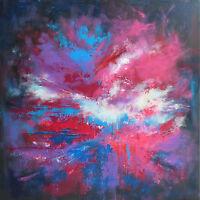 """Peinture sur Toile Tableau Abstrait original signé HZEN, """"UN ABSTRAIT"""" 60x60 cm"""