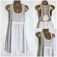 Mantaray White Cotton Beach Cover Up Crochet Detail Dress/Top  8 - 18 (hs-9h)