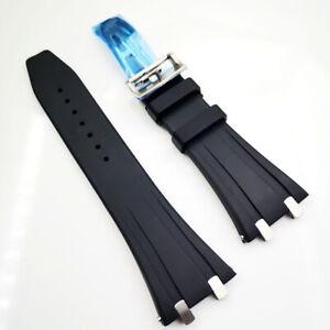 26mm Black Rubber Silver Clasp Strap for AP AudemarsPiguet 15400 15300 Royal Oak