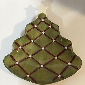 Pottery Barn Seasons Greetings Christmas Tree Holiday Appetizer Plate White Star