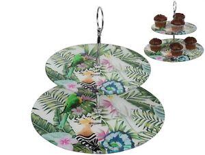 2 Tier Cake Glass Stand Tray w Tropical Rainforest & Australian Native Birds