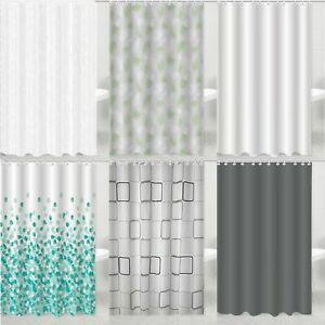 New Waterproof Shower Curtains Modern Designs Printed & Plain With 12 Hook Set